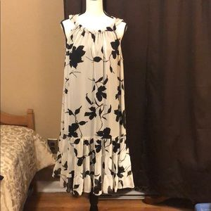 White Dress with Black Flowers